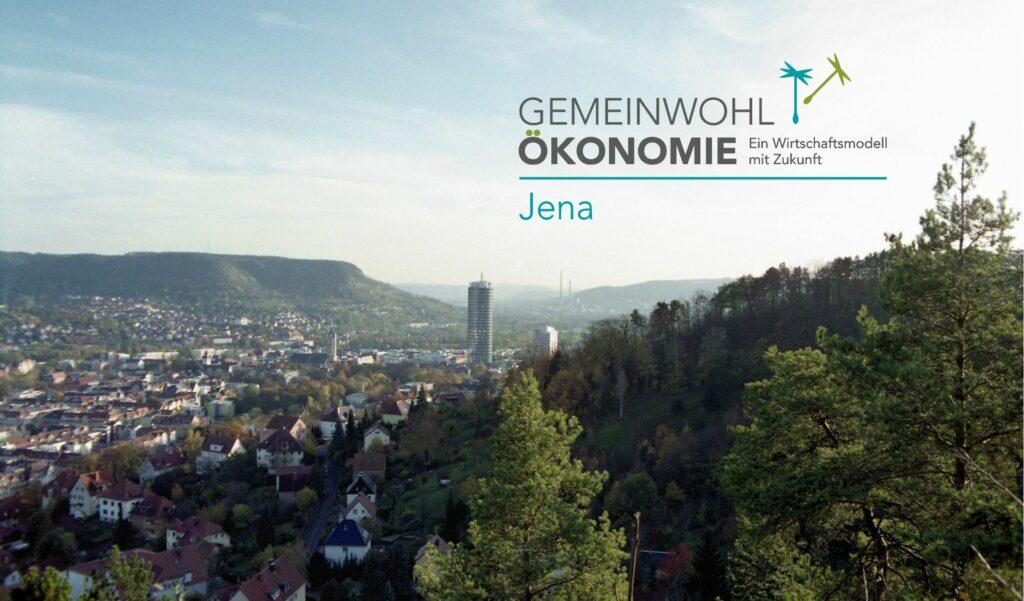 Panorama von Jena mit Logo der GWÖ Jena